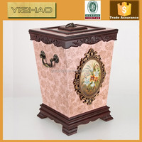 Painting Indoor Decorative Wooden Trash Can,Wooden Garbage Can