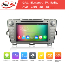 Quad Core Android 4.4 Capacitive car dvd gps navigation system For Toyota Prius(Left driving) 2009-2013 with mirror link