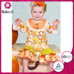 kids ruffle pants boutique neck designs Children's Girl Cheap Cotton Outfit