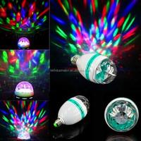 Hot Selling B22/E27 Crystal Rotating Led bulb,Magic RGB 3W Rotation LED Ball light Lamps for Disco Home Party
