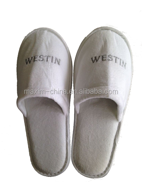 High quality washable chinese embroidered velvet slippers for Maxim design hotel 3 star