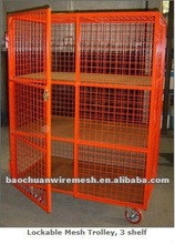 Folding collapsible stackable warehouse using security mesh cages with 4 castors