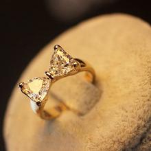 Temperament sweet princess bow cut zircon ring best friends forever