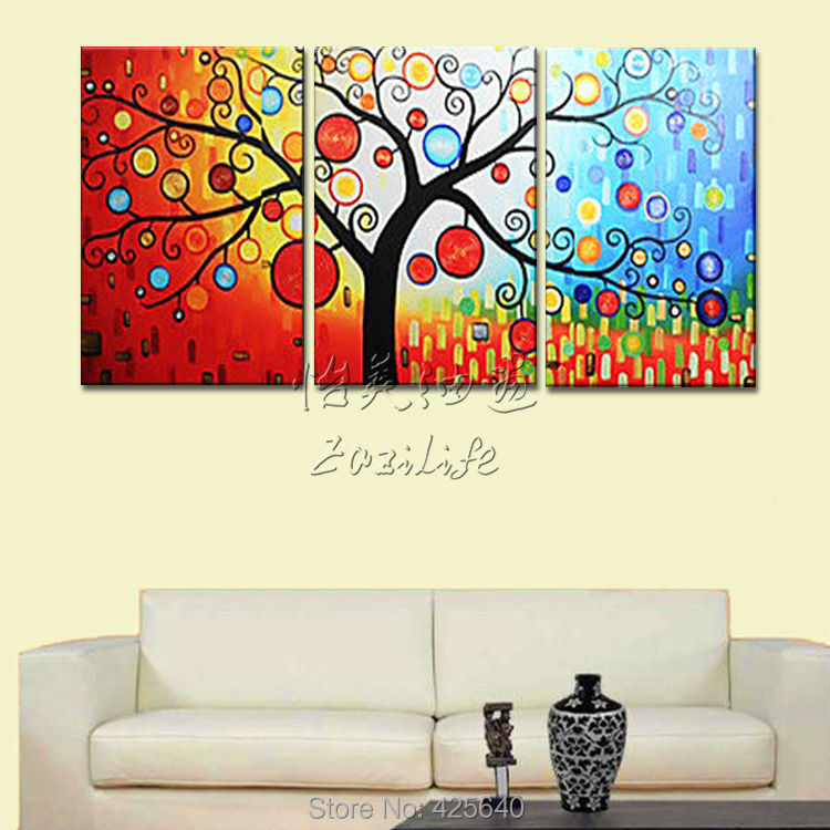 Buy 3 Piece Hand Painted Palette Knife Colorful Tree Oil Painting Wall Art Canvas Picture Modern Abstract Home Decor Living Room Set cheap