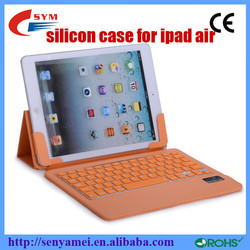 ultra-thin silicon for ipad air with bluetooth keyboard, flip cover for ipad 5 PU