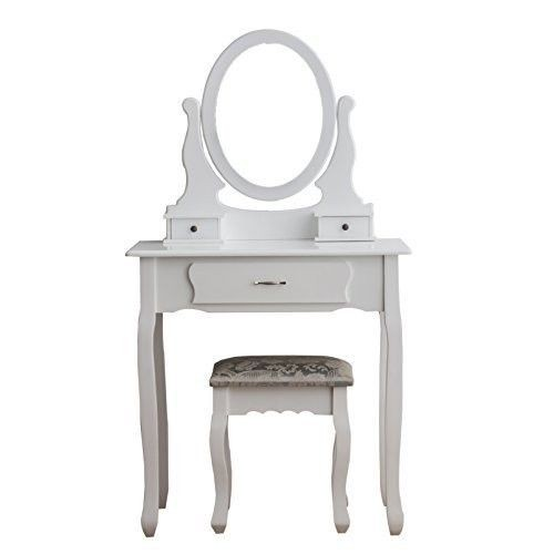 Superbe Small White Dressing Table Set Mirror Stool Vintage Makeup Bedroom Dresser  Chic