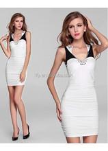 2015 Cap sleeve Custom made sheath Beaded White Prom/Party/Graduation Dresses Satin Short Homecoming Dresses