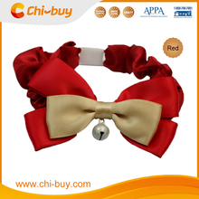 Red Bow Adjustable Fancy Feline Cat Bow Collar With Bell, Made of Color Butyl Cloth, Neck size 17~24cm
