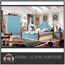 Brown solid wood legs blue nature styles bedroom set funiture