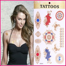 New Fashionable flash foil body jewelry 2015 temporary gold tattoo sticker