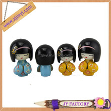 Decorative wooden handicraft resin&wooden japanese doll resin craft