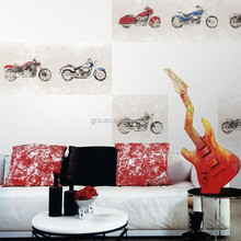 Gris Hot Sale Fashion Design Superwall Series Theme Mural Harley Bike Non-woven Natural Wallpaper for interior decor