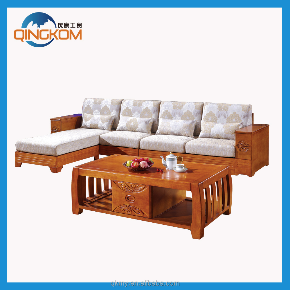 High quality living room furniture solid wood corner sofa for Wooden living room furniture