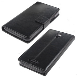 flip cover wallet mobile phone case, smart stand leather case for lenovo a5000