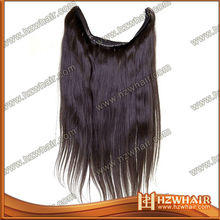 100% brazilian human hair , flip in hair extension,fish wire hair extension