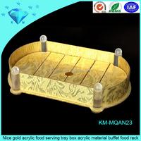 Nice gold acrylic food serving tray box acrylic material buffet food rack
