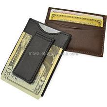 Alta calidad del cuero genuino magnética Classic Money Clip wallet, moda Clips para billetes y venta al por mayor titular de la tarjeta