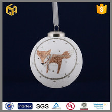 white christmas glass snow ball with beer ,snowman and fox different pictures,christmas tree ornament