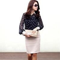 AR015 plus size polka dot chiffon black sexy women see through blouses