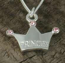 925 steriling silver Princess Crown Necklace -Beautiful Silver Necklace with Princess Crown Charm with pink sparkly gems