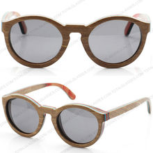 cheapest wooden sunglasses 2015skateboard round keyhole wood bamboo sunglasses OEM sunglasses branded eyewear
