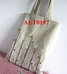 wholesale handmade linen shopping bag with embroidery