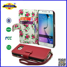 Premium Leather Flip Wallet Case / Cover / Pouch / Holster with Card Slots for Samsung Galaxy S6 ,with Detachable Wrist Strap