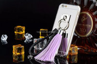 Luxury Metal Silver Mirror Pendant Tassel Phone Case For IPhone 6s, China Supplier