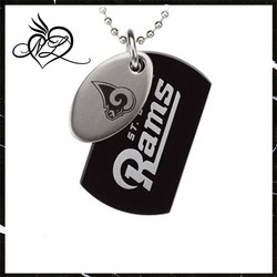 Stainless Steel St. Louis Rams Logo Double Dog Tag Necklace