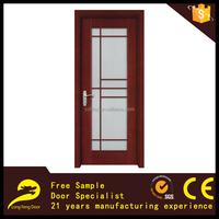 modern designs solid wooden door interior glass panel