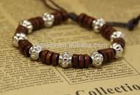 Adjustable coffee and black fashion wood beads bracelet silver lantern locket jewelry