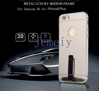 Fashion Women Make Up PC Back Mirror Zinc Alloy Metal Bumper Case Cover For Apple iPhone 6S/ 6S Plus Case Back Cover
