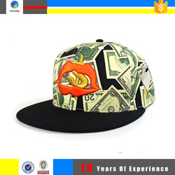 custom printed fabric design/printed us dollar pattern snapback cap embossed