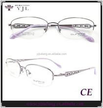 half-rim titanium optical spectacles for fashion lady