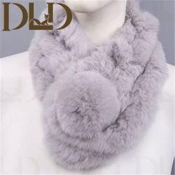 Genuine Knitting Rex Fur Mufflers with fur Balls OEM Wholesale Retail fur neck warmer