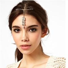 C85805A Flash diamond hairpin leaves hair chain new fashion women hair jewelry