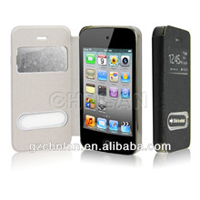 Leather flip cover,Fashion cheap leather flip case for iPhone 4S