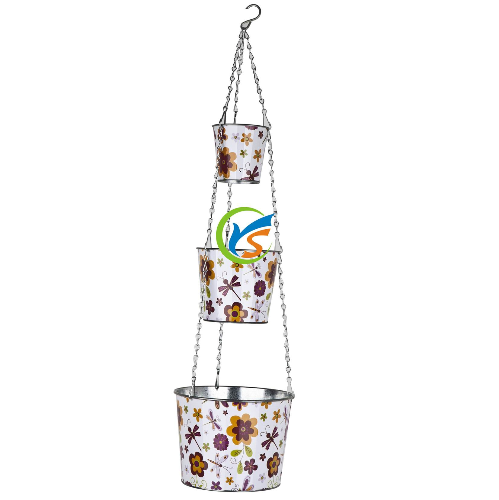 Metal Flower Hanging Baskets : Galvanized metal flower pot hanging baskets buy
