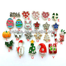 custom made 2015 hot sale floating heart christmas charms