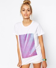 customized promotional top quality 100% cotton white women print t-shirt