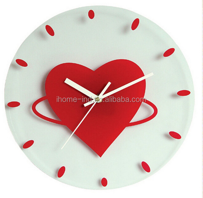Wall Clock Glass Modern Fashion