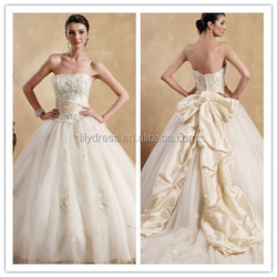 Lovely Appliques Custom Strapless Mariage Latest LovelyBD-0669 Robe De Pink Ball Gown Wedding Dress Prom Ball Gown Dresses