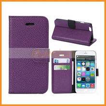 Wholesale Lichee Pattern PU Leather Cell Phone Holster Cover Case For iPhone 6 Plus 5.5 inch