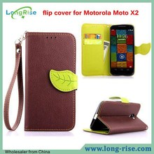 Lichee Pattern Leaf Magnetic Wallet Leather Flip Cover for Motorola Moto X2 X+1 XT1097 Case with Strap