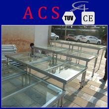 ACS 2015 Hot selling portable stage for catwalk/18mm platform stage /aluminum frame plexiglass stage