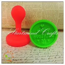 plastic mounted engraving letter stamps holder,plastic handle rubber heart stamp