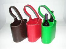 Decorative double stitched faux leather wine bottle carrier holders