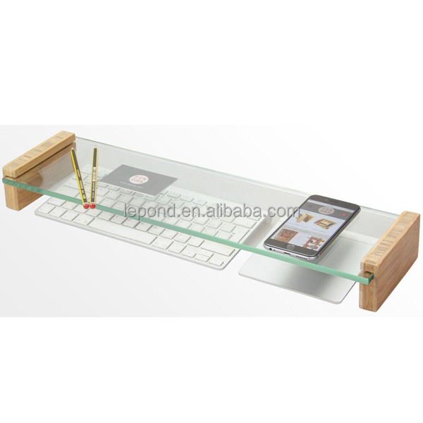 N677 glass keyboard top organiser monitor stand with - Glass desk organizer ...