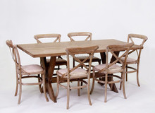 Home used Antique Solid wooden With X desigen leg Rectangular Dining /Party Table(DT-827-OAK)
