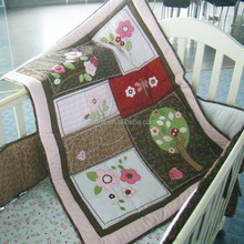 Factory Directory printed Baby Quilt with Embroidery and Applique